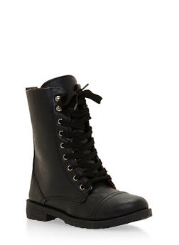 Combat Boots with Plaid Lining - 3736057260063