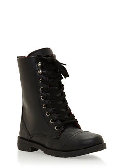 Combat Boots with Plaid Lining - 3736057260064