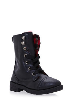 Girls Combat Boots with Buffalo Check Lining - 3736057260065
