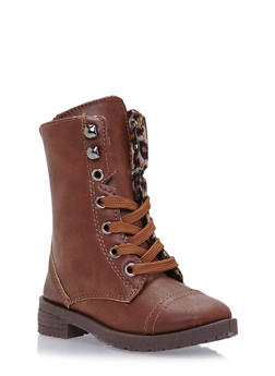 Girls Leopard Print Lined Lace-Up Boots - 3736057260066