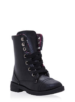 Girls Faux Leather Combat Boots with Lining - 3736057260067