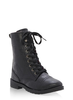 Girls 11-4 Faux Leather Combat Boots - 3736057260072