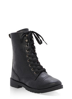 Girls 11-4 Faux Leather Combat Boots - 3736057260073