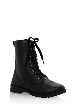 Girls 11-4 Black Faux Leather Combat Boots - 3736057260074