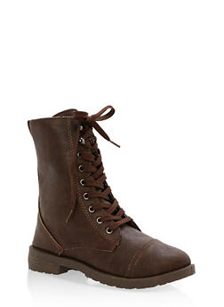 Girls 11-4 Faux Leather Combat Boots - 3736057260076