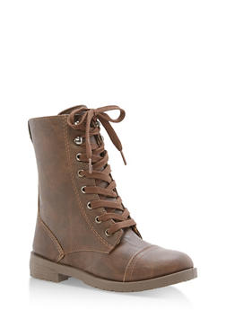 Girls 11-4 Faux Leather Combat Boots - 3736057260079