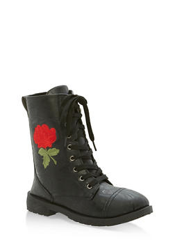 Girls 11-4 Rose Embroidered Combat Boots - 3736057260086
