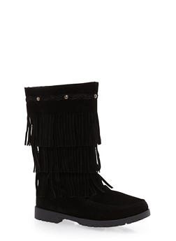 Girls 11-4 Tiered Fringe Boots - 3736057260089