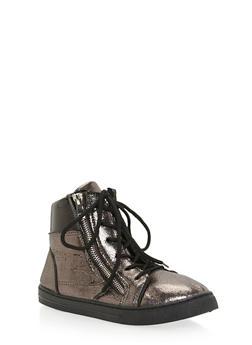 Girls Metallic Dual Zip High Top Sneakers - 3736061120013