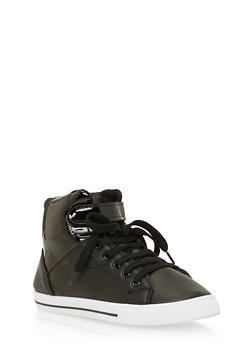 Girls High Top Sneakers with Patent Paneling - 3736061120017