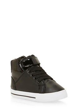 Girls High Top Sneakers with Patent Paneling - 3736061120018