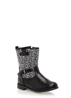 Girls Boots with Tweed Paneling - 3736061120022