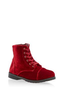 Girls 10-4 Velvet Combat Boots - 3736061120027
