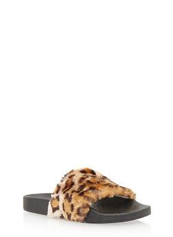Girls 11-4 Faux Fur Slides - LEOPARD PRINT - 3736061120028