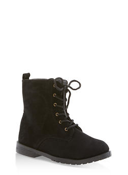 Girls 10-4 Faux Suede Combat Boots - 3736061120031