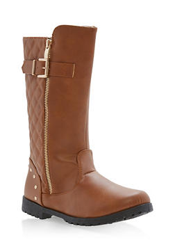 Girls 10-4 Tall Quilted Boots with Buckle Detail - 3736061120033