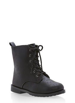 Girls 10-4 Brushed Faux Leather Combat Boots - 3736061120035