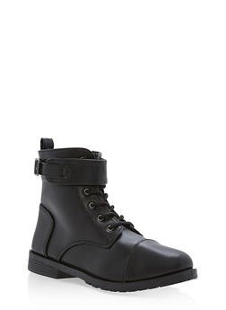 Girls 10-4 Faux Leather Combat Boots with Ankle Strap - 3736061120036