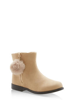 Girls 10-4 Faux Suede Pom Pom Zip Booties - 3736061120037