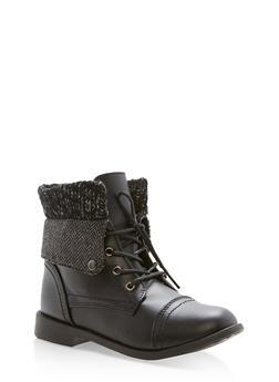 Girls 10-4 Chevron Sweater Knit Cuffed Combat Boots - 3736061120038