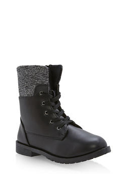 Girls 10-4 Embroidered Faux Leather Combat Boots - 3736061120039