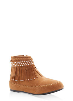 Girls 10-4 Fringe Faux Suede Moccassin Booties - 3736061120043