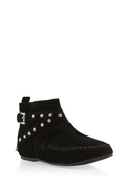 Girls 10-4 Faux Suede Studded Moccasin Booties - 3736061120046