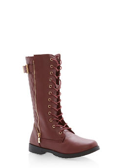 Girls 10-4 Tall Quilted Boots with Zipper Detail - 3736061120047