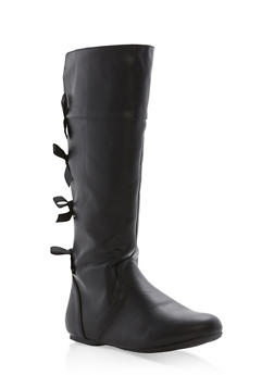 Girls 10-4 Tall Faux Leather Boots with Bow Accents - 3736061120048