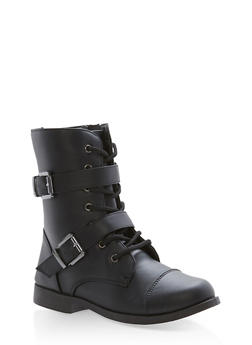 Girls 10-4 Lace Up Double Strap Combat Boots - 3736061120058