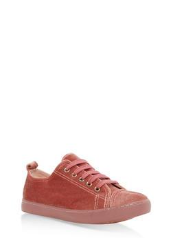 Girls 12-4 Velvet Lace Up Sneakers - 3736062720001