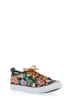 Girls 12-4 Floral Canvas Sneakers - 3736062720005