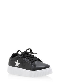Girls 12-4 Faux Leather Star Creeper Sneakers - 3736062720010
