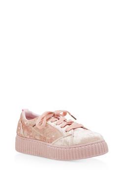 Girls 12-4 Crushed Velvet Creeper Sneakers - 3736062720011
