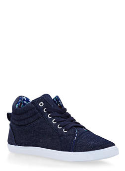 Girls Denim Sneakers with Floral Lining - 3736062720036