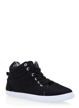 Girls Canvas Sneakers with Floral Lining - 3736062720037