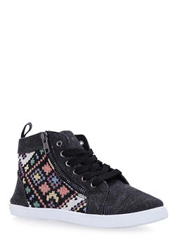 Girls High Top Sneakers with Aztec Knit - 3736062720038