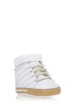 Baby Boy High-Top Sneakers with Patent Stripes - 3736065690011