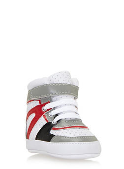Baby Boy High-Top Sneakers with Perforated Uppers - 3736065690025