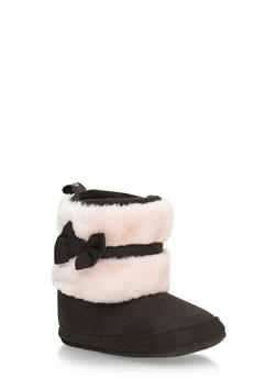 Baby Girl Booties with Faux Fur and Bow - 3736065690091