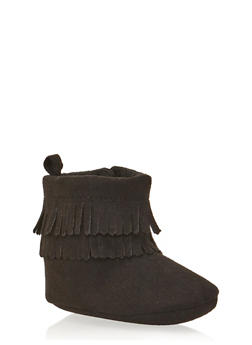 Baby Girl Faux Suede Moccasin Boots with Fringe - 3736065690092