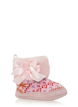 Baby Girl Knit Boots with Faux Fur Trim and Bow - 3736065690096