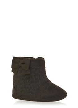 Baby Girl Knit Bootie with Bow - 3736065690098