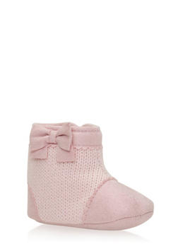 Baby Girl Knit Booties with Bow - 3736065690099