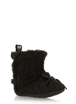 Baby Girl Cable Knit Booties with Faux Fur Trim - 3736065690100