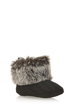 Baby Girl Cable Knit Booties with Faux Fur Trim - 3736065690103