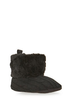 Baby Girl Sweater Knit Boots with Faux Fur Trim - 3736065690106