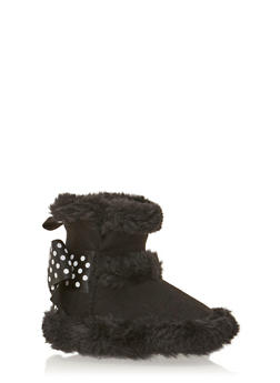 Baby Girl Suede Boots with Polka Dot Bow - 3736065690110