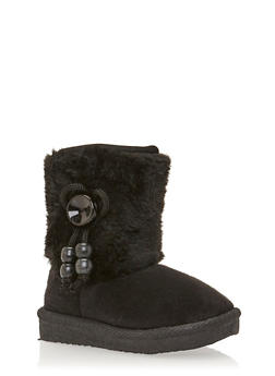Girls Faux Fur Boots with Beaded Bow - 3736065690111