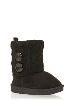 Baby Girl Boots with Sweater Knit Cuff - 3736065690112